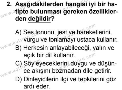 Seçmeli Türk Dili ve Edebiyatı 4 Dersi 2019 - 2020 Yılı 1. Dönem Sınav Soruları 2. Soru