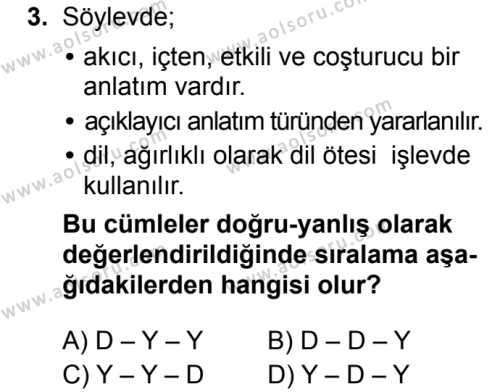 Seçmeli Türk Dili ve Edebiyatı 4 Dersi 2019 - 2020 Yılı 1. Dönem Sınav Soruları 3. Soru