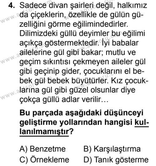 Seçmeli Türk Dili ve Edebiyatı 4 Dersi 2019 - 2020 Yılı 1. Dönem Sınav Soruları 4. Soru