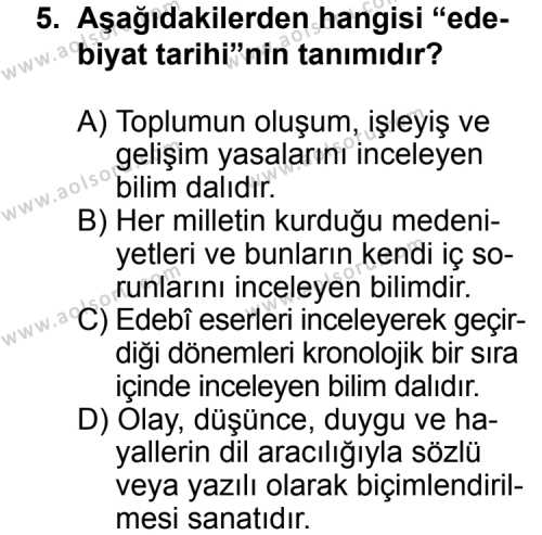 Seçmeli Türk Edebiyatı 3 Dersi 2011-2012 Yılı 1. Dönem Sınavı 5. Soru