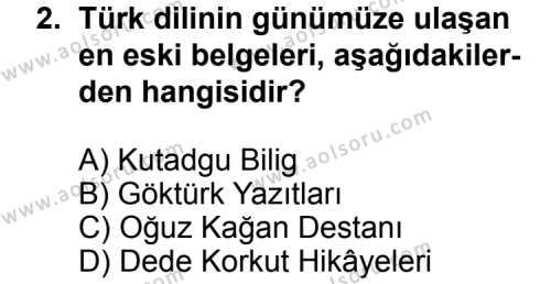 Seçmeli Türk Edebiyatı 3 Dersi 2011 - 2012 Yılı Ek Sınav Soruları 2. Soru