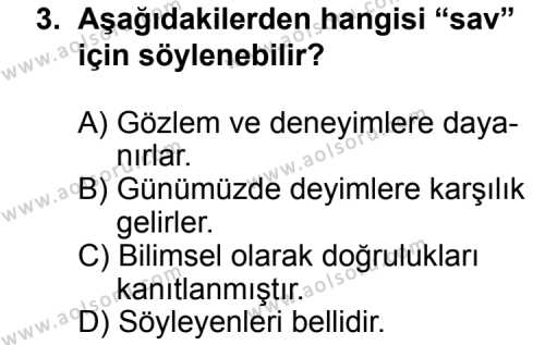 Seçmeli Türk Edebiyatı 3 Dersi 2011 - 2012 Yılı Ek Sınav Soruları 3. Soru