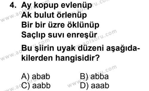 Seçmeli Türk Edebiyatı 3 Dersi 2013-2014 Yılı 1. Dönem Sınavı 4. Soru