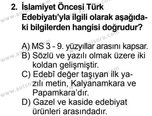 Seçmeli Türk Edebiyatı 3 Dersi 2013 - 2014 Yılı 3. Dönem Sınav Soruları 2. Soru