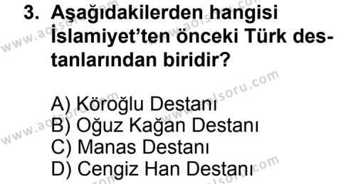Seçmeli Türk Edebiyatı 3 Dersi 2013 - 2014 Yılı 3. Dönem Sınav Soruları 3. Soru