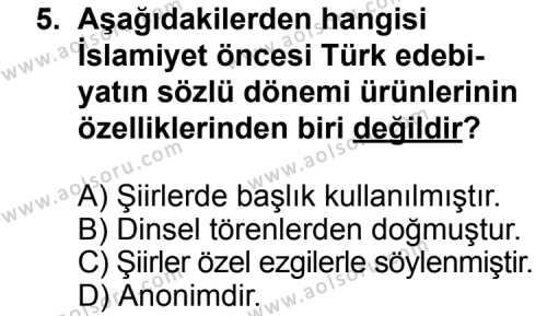 Seçmeli Türk Edebiyatı 3 Dersi 2014-2015 Yılı 1. Dönem Sınavı 5. Soru