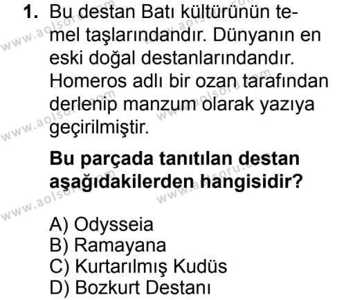 Seçmeli Türk Edebiyatı 3 Dersi 2014 - 2015 Yılı Ek Sınav Soruları 1. Soru