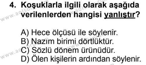 Seçmeli Türk Edebiyatı 3 Dersi 2014 - 2015 Yılı Ek Sınav Soruları 4. Soru