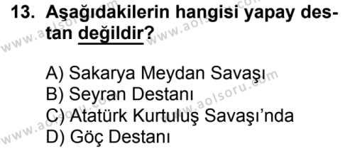 Seçmeli Türk Edebiyatı 3 Dersi 2016-2017 Yılı 1. Dönem Sınavı 13. Soru