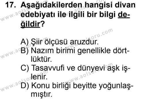 Seçmeli Türk Edebiyatı 3 Dersi 2011-2012 Yılı 1. Dönem Sınavı 17. Soru