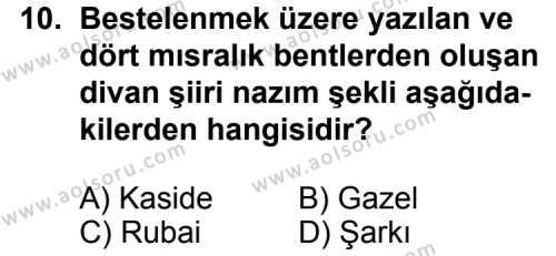 Seçmeli Türk Edebiyatı 4 Dersi 2011-2012 Yılı 3. Dönem Sınavı 10. Soru