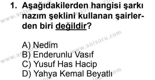 Seçmeli Türk Edebiyatı 4 Dersi 2011 - 2012 Yılı Ek Sınavı 1. Soru