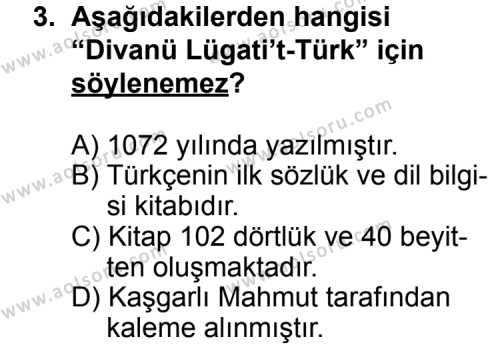 Seçmeli Türk Edebiyatı 4 Dersi 2011 - 2012 Yılı Ek Sınavı 3. Soru