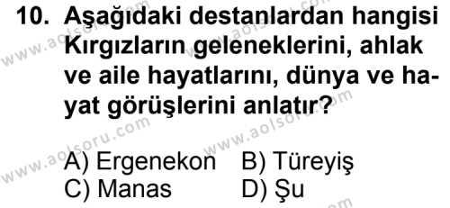 Seçmeli Türk Edebiyatı 4 Dersi 2012-2013 Yılı 1. Dönem Sınavı 10. Soru