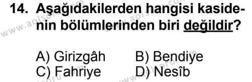 Seçmeli Türk Edebiyatı 4 Dersi 2012-2013 Yılı 1. Dönem Sınavı 14. Soru