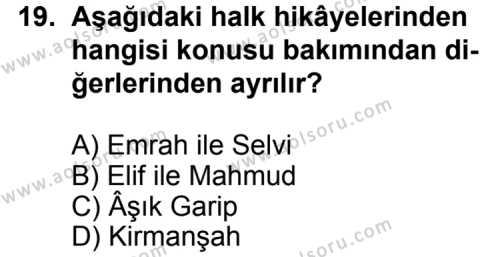Seçmeli Türk Edebiyatı 4 Dersi 2012-2013 Yılı 1. Dönem Sınavı 19. Soru