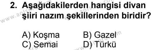 Seçmeli Türk Edebiyatı 4 Dersi 2013-2014 Yılı 1. Dönem Sınavı 2. Soru