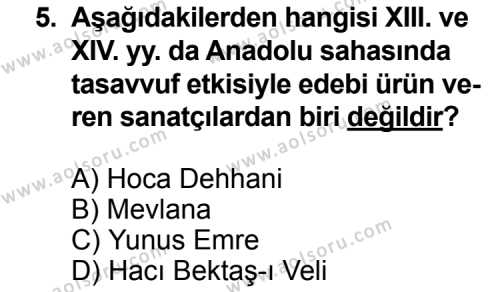 Seçmeli Türk Edebiyatı 4 Dersi 2014-2015 Yılı 1. Dönem Sınavı 5. Soru