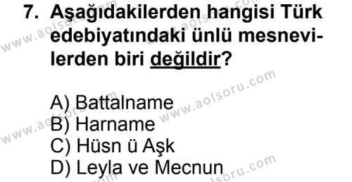 Seçmeli Türk Edebiyatı 4 Dersi 2014-2015 Yılı 1. Dönem Sınavı 7. Soru