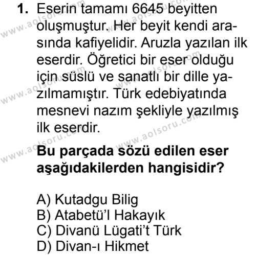 Seçmeli Türk Edebiyatı 4 Dersi 2014 - 2015 Yılı Ek Sınav Soruları 1. Soru