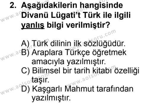 Seçmeli Türk Edebiyatı 4 Dersi 2014 - 2015 Yılı Ek Sınav Soruları 2. Soru