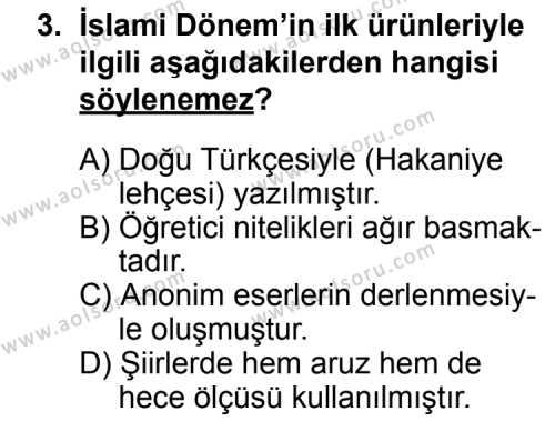 Seçmeli Türk Edebiyatı 4 Dersi 2014 - 2015 Yılı Ek Sınav Soruları 3. Soru