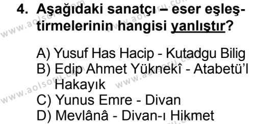 Seçmeli Türk Edebiyatı 4 Dersi 2014 - 2015 Yılı Ek Sınav Soruları 4. Soru