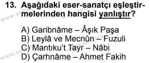 Seçmeli Türk Edebiyatı 4 Dersi 2015-2016 Yılı 3. Dönem Sınavı 13. Soru