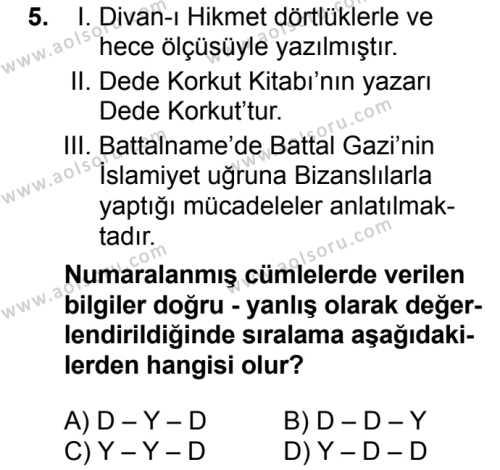 Seçmeli Türk Edebiyatı 4 Dersi 2016-2017 Yılı 1. Dönem Sınavı 5. Soru