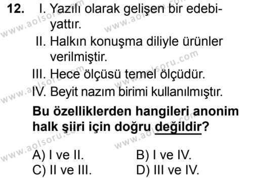 Seçmeli Türk Edebiyatı 4 Dersi 2016-2017 Yılı 1. Dönem Sınavı 12. Soru