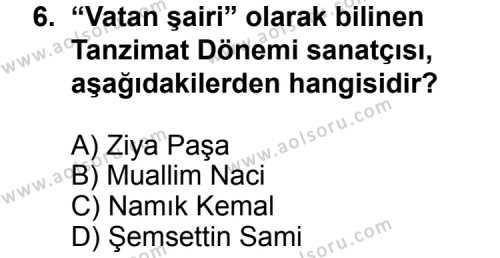 Seçmeli Türk Edebiyatı 5 Dersi 2011-2012 Yılı 1. Dönem Sınavı 6. Soru