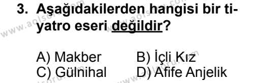 Seçmeli Türk Edebiyatı 5 Dersi 2011 - 2012 Yılı Ek Sınavı 3. Soru