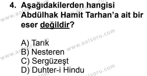 Seçmeli Türk Edebiyatı 5 Dersi 2011 - 2012 Yılı Ek Sınavı 4. Soru