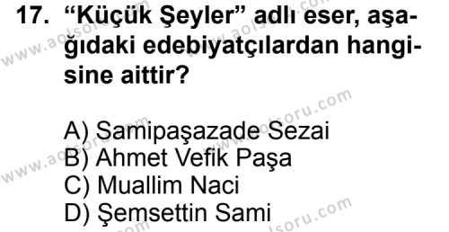 Seçmeli Türk Edebiyatı 5 Dersi 2012-2013 Yılı 1. Dönem Sınavı 17. Soru