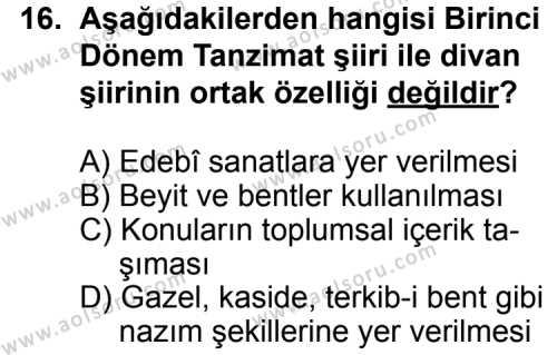 Seçmeli Türk Edebiyatı 5 Dersi 2013-2014 Yılı 1. Dönem Sınavı 16. Soru