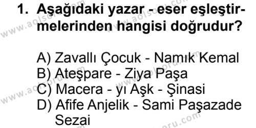 Seçmeli Türk Edebiyatı 5 Dersi 2013 - 2014 Yılı 3. Dönem Sınav Soruları 1. Soru