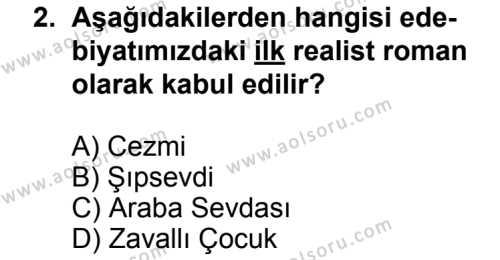 Seçmeli Türk Edebiyatı 5 Dersi 2013 - 2014 Yılı 3. Dönem Sınav Soruları 2. Soru