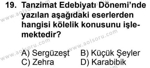Seçmeli Türk Edebiyatı 5 Dersi 2014-2015 Yılı 1. Dönem Sınavı 19. Soru