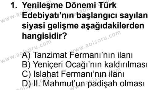 Seçmeli Türk Edebiyatı 5 Dersi 2014 - 2015 Yılı Ek Sınav Soruları 1. Soru
