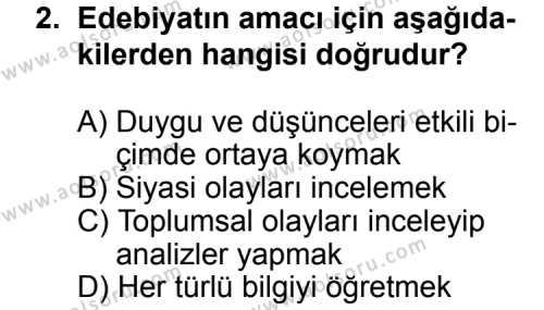 Seçmeli Türk Edebiyatı 5 Dersi 2014 - 2015 Yılı Ek Sınav Soruları 2. Soru