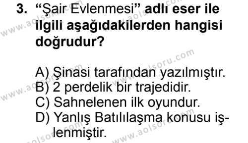 Seçmeli Türk Edebiyatı 5 Dersi 2014 - 2015 Yılı Ek Sınav Soruları 3. Soru
