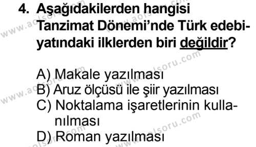 Seçmeli Türk Edebiyatı 5 Dersi 2014 - 2015 Yılı Ek Sınav Soruları 4. Soru