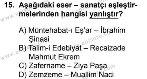 Seçmeli Türk Edebiyatı 5 Dersi 2016-2017 Yılı 1. Dönem Sınavı 15. Soru