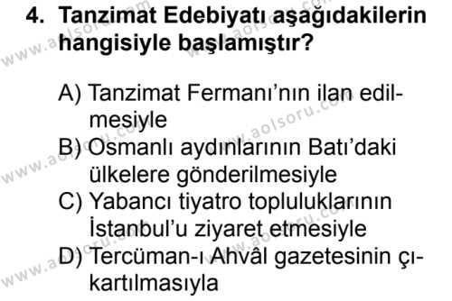 Seçmeli Türk Edebiyatı 5 Dersi 2017-2018 Yılı 1. Dönem Sınavı 4. Soru