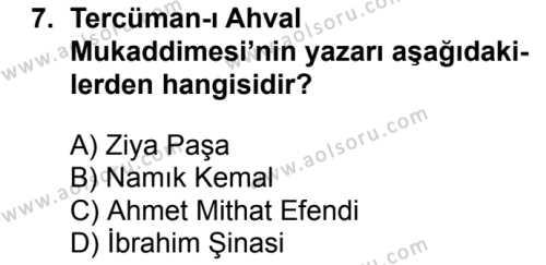 Seçmeli Türk Edebiyatı 5 Dersi 2017-2018 Yılı 1. Dönem Sınavı 7. Soru