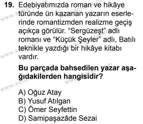 Seçmeli Türk Edebiyatı 5 Dersi 2017-2018 Yılı 1. Dönem Sınavı 19. Soru