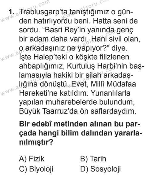 Seçmeli Türk Edebiyatı 5 Dersi 2017 - 2018 Yılı 3. Dönem Sınavı 1. Soru