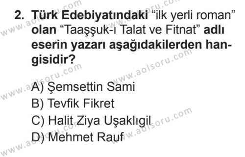 Seçmeli Türk Edebiyatı 5 Dersi 2017 - 2018 Yılı 3. Dönem Sınavı 2. Soru