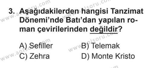 Seçmeli Türk Edebiyatı 5 Dersi 2017 - 2018 Yılı 3. Dönem Sınavı 3. Soru