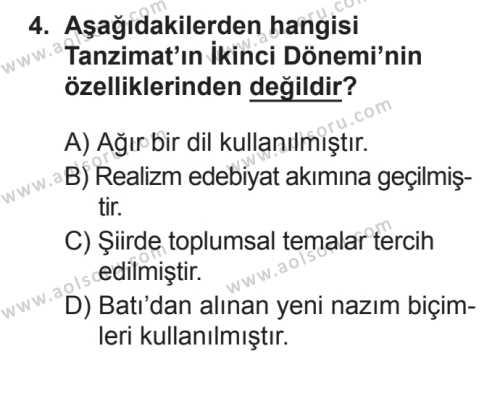 Seçmeli Türk Edebiyatı 5 Dersi 2017 - 2018 Yılı 3. Dönem Sınavı 4. Soru